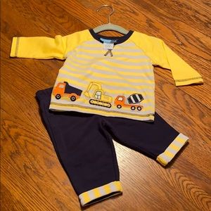 9 mo matching outfit with trucks - NWOT